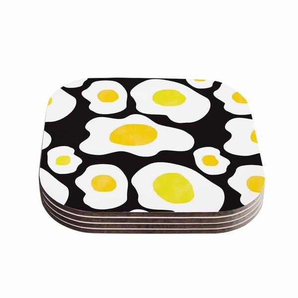 Vasare Nar 'Fried Eggs Pattern' Yellow Pop Art Coasters (Set of 4)