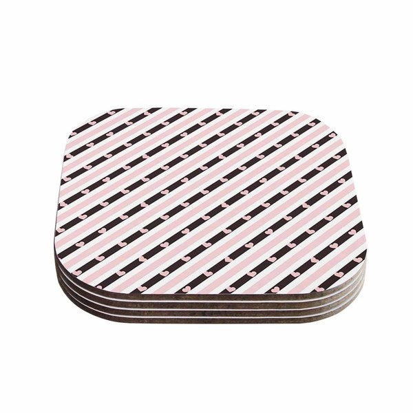 Vasare Nar 'Pastel Stripe Heart' Pink Love Coasters (Set of 4)