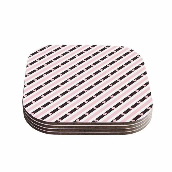 Vasare Nar 'Pastel Stripe Heart' Pink Love Coasters (Set of 4)