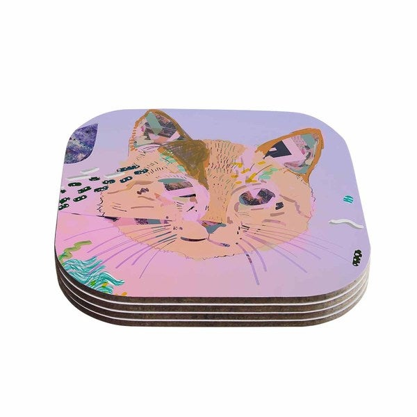Vasare Nar 'Psychedelic Cat' Pastel Lavender Coasters (Set of 4)