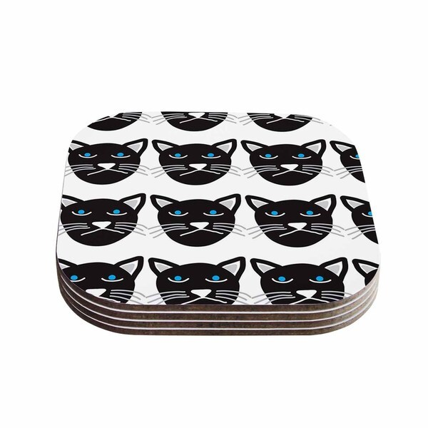 Vasare Nar 'Grumpy Cat' Black Animals Coasters (Set of 4)