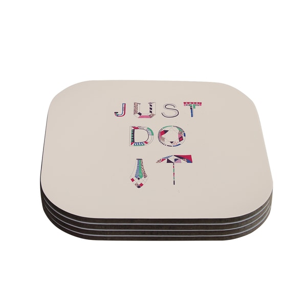 Vasare Nar 'Just Do It' Tan Rainbow Coasters (Set of 4)