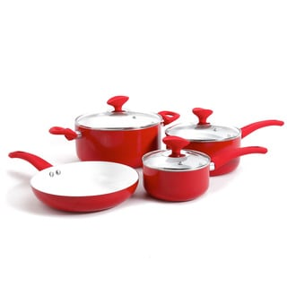 Eco-Friendly Red Non-Stick Ceramic 7-piece Cookware Set With Tempered Glass Lids