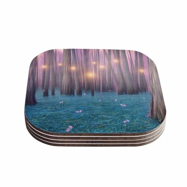 Viviana Gonzalez 'Pink Feather Dance' Digital Blue Coasters (Set of 4)