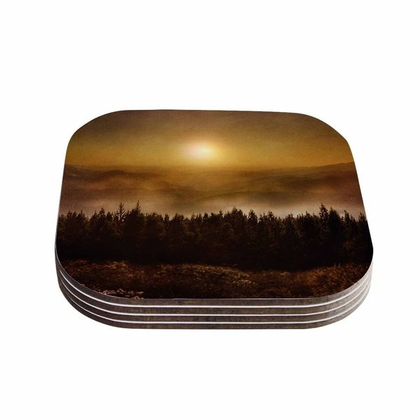 Viviana Gonzalez 'The Awakening' Orange Brown Coasters (Set of 4)