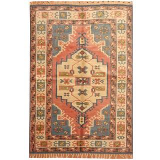 Herat Oriental Turkish Hand-knotted Kazak Blue/ Ivory Wool Rug (6'2 x 8'7)