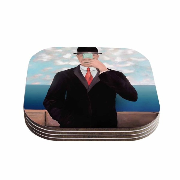 Theresa Giolzetti 'The Son Of Apple' Blue Black Coasters (Set of 4)