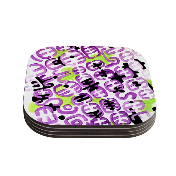 Theresa Giolzetti 'Theodora's Mood' Green Purple Coasters (Set of 4)