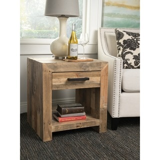 Kosas Home Oscar Honey Beige Pine Wood Handcrafted Natural Recovered Shipping Pallets Side Table