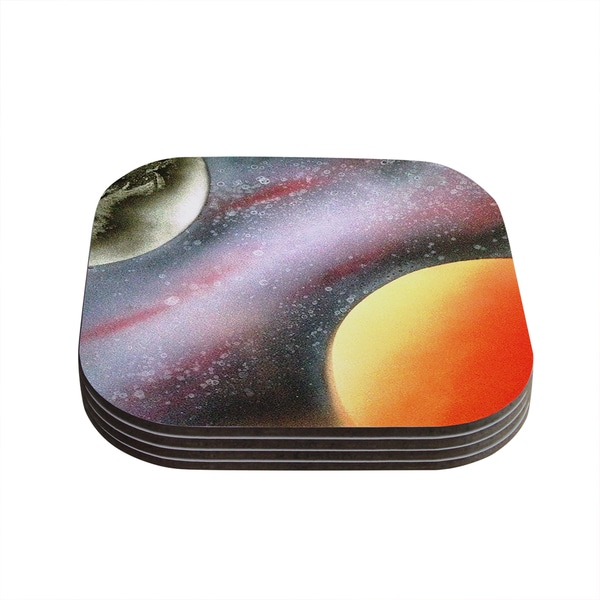 Infinite Spray Art 'Alignment' Red Orange Black Coasters (Set of 4)