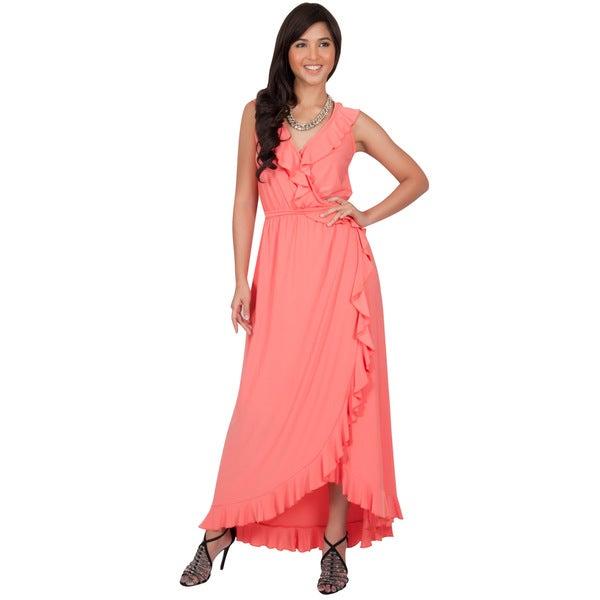 Koh Koh Women's Polyester/Spandex Slimming Sleeveless Summer Ruffled V-Neck Wrap Maxi Dress