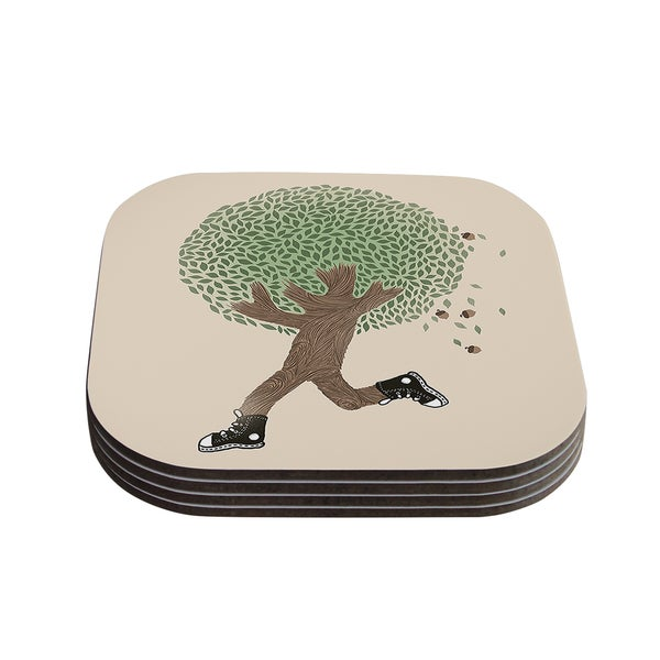 Tobe Fonseca 'Run For Your Life' Tree Illustration Coasters (Set of 4)