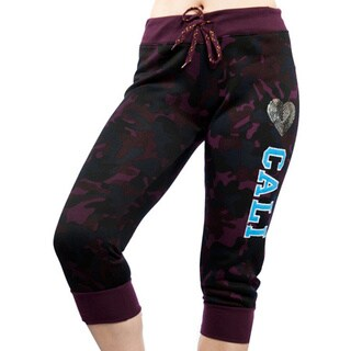 Special One Women's Army Camouflage Active Fleece Capri Leggings With Applique Print