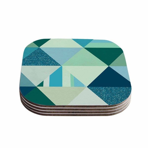 Noonday Design 'The Triangle Blues' Geometric Blue Coasters (Set of 4)