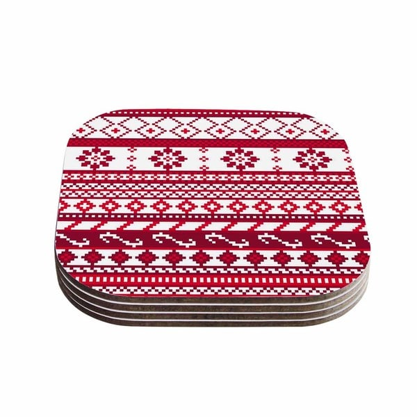Noonday Design 'Red Fairisle Christmas Pattern' Red White Coasters (Set of 4)
