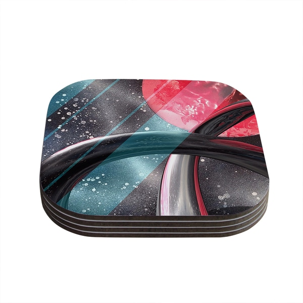Infinite Spray Art 'Geometric Mars' Black Teal Red Coasters (Set of 4)