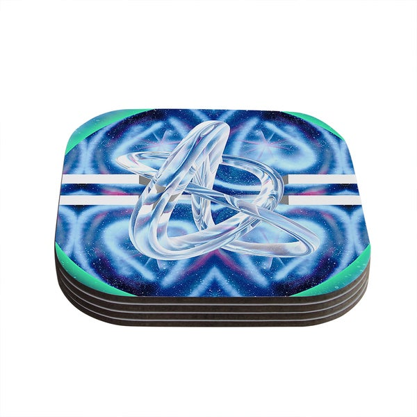 Infinite Spray Art 'New Era' Blue Green Coasters (Set of 4)