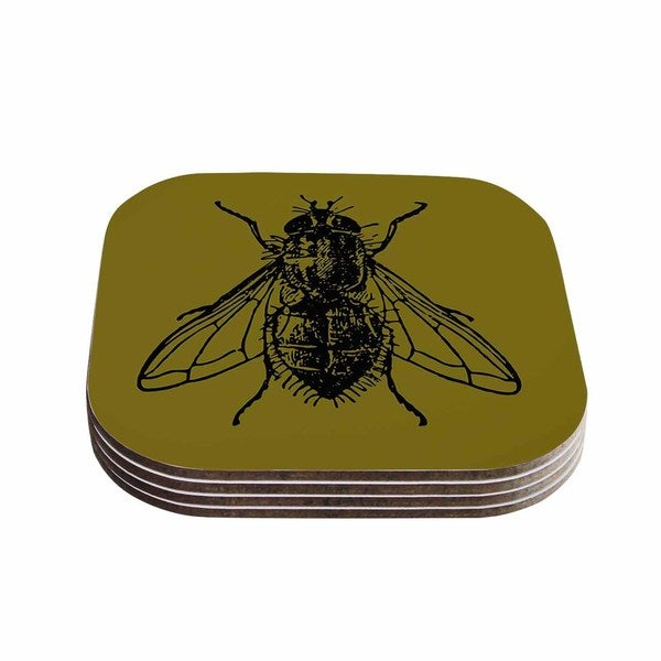Alias 'Too Fly' Green Black Coasters (Set of 4)
