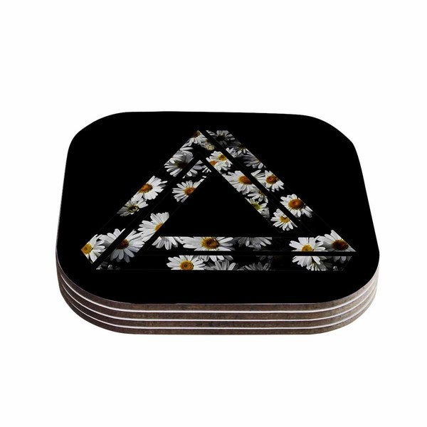 Alias 'Impossible Daisy Chain' Black Yellow Coasters (Set of 4)