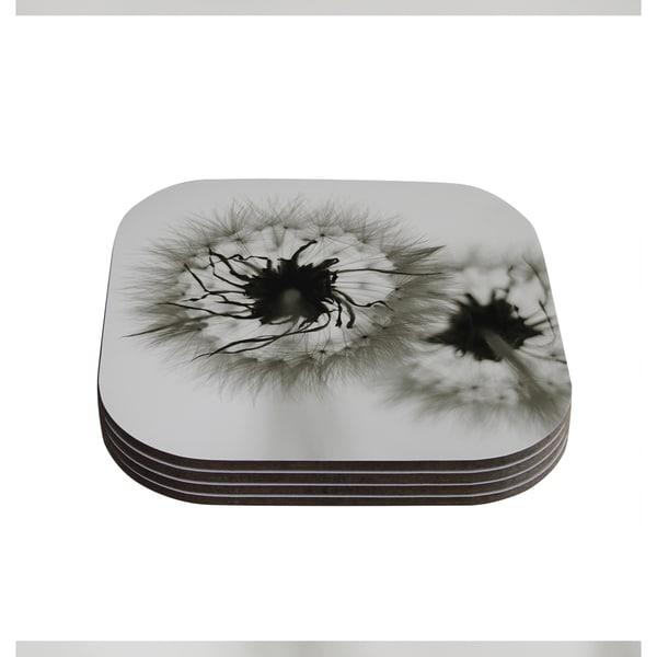 Skye Zambrana 'Wishes' Gray Flower Coasters (Set of 4) 18344476