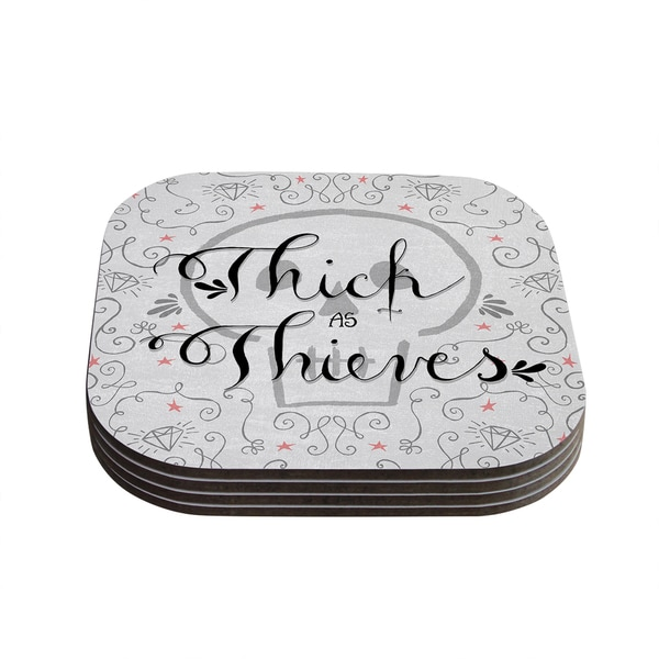 Sky Zambrana 'Thick as Thieves' White Black Coasters (Set of 4)