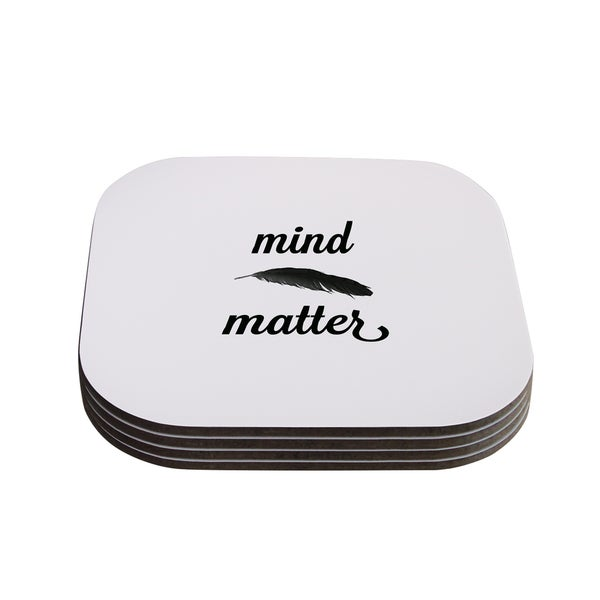 Skye Zambrana 'Mind Over Matter II' Black White Coasters (Set of 4)
