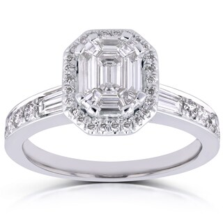 Annello 14k White Gold 1ct TDW Emerald and Baguette Diamond Art Deco Engagement Ring (H-I, I1-I2)