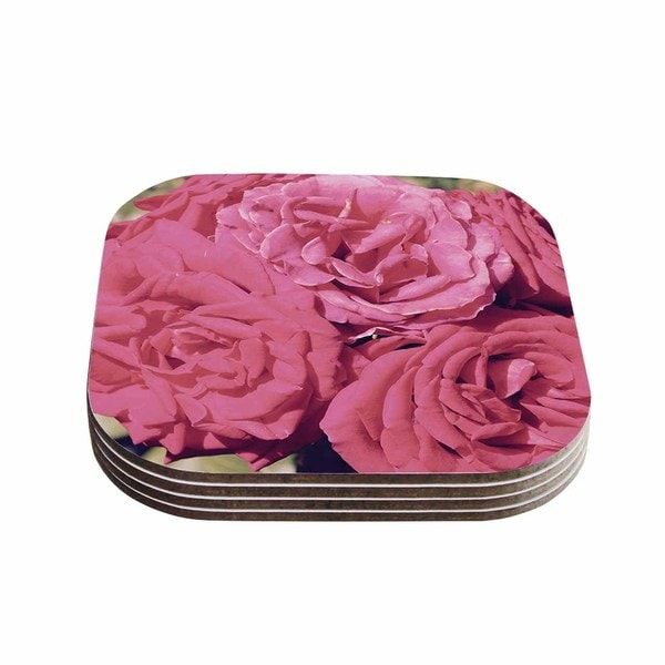 Susan Sanders 'Blush Pink Blooming Roses' Floral Photography Coasters (Set of 4)