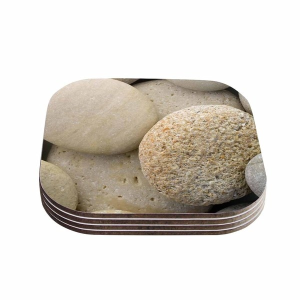 Susan Sanders 'River Stones' Gray Coasters (Set of 4)