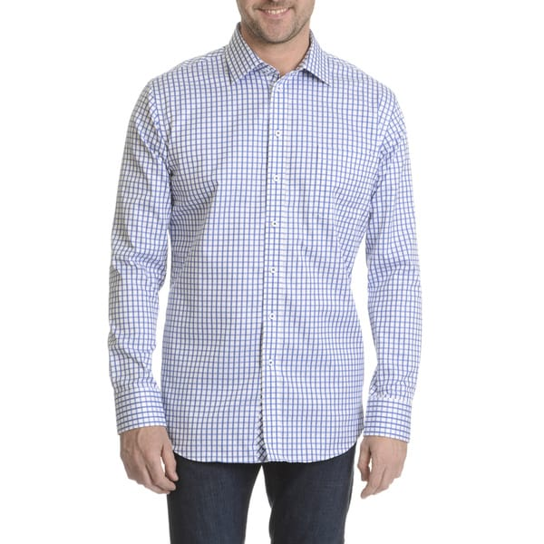 Daniel Hechter Men's Non-iron Checker-patterned Classic Fit Dress Shirt