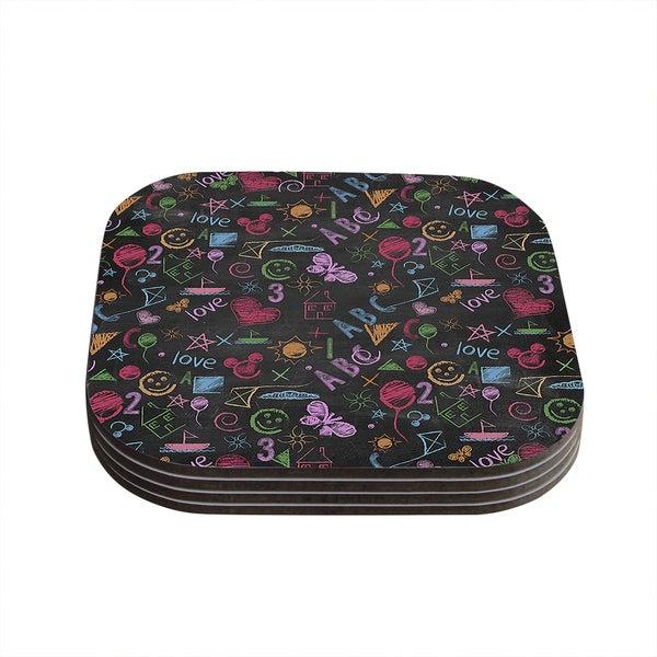 Snap Studio 'Kindergarden Crazy' Black Rainbow Coasters (Set of 4)
