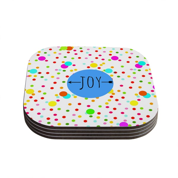Sreetama Ray 'Oh Joy' Rainbow White Coasters (Set of 4)
