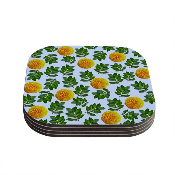 Sreetama Ray 'More Marigold' Green Blue Coasters (Set of 4) 18345193