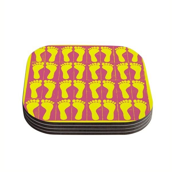 Sreetama Ray 'Footprints Yellow' Pink Illustration Coasters (Set of 4) 18345219