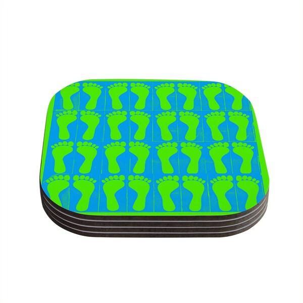 Sreetama Ray 'Footprints Green' Blue Aqua Coasters (Set of 4) 18345220