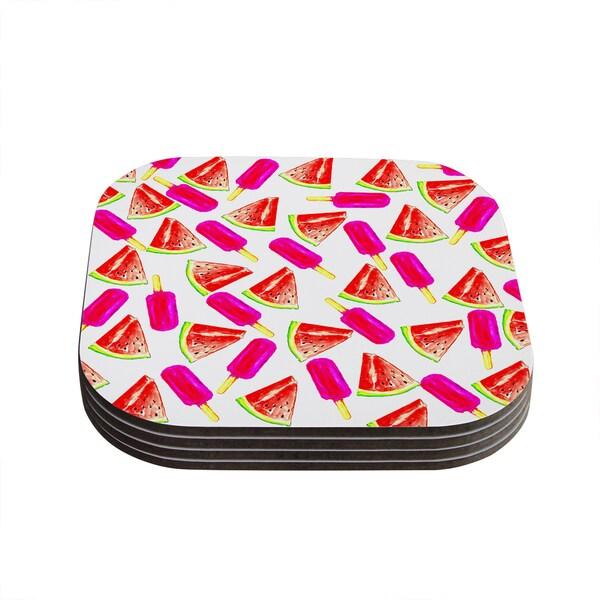 Sreetama Ray 'Strawberry & Watermelon' Pink Red Coasters (Set of 4)