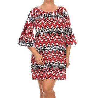 MOA Collection Women's Plus-Size Chevron-Print Dress
