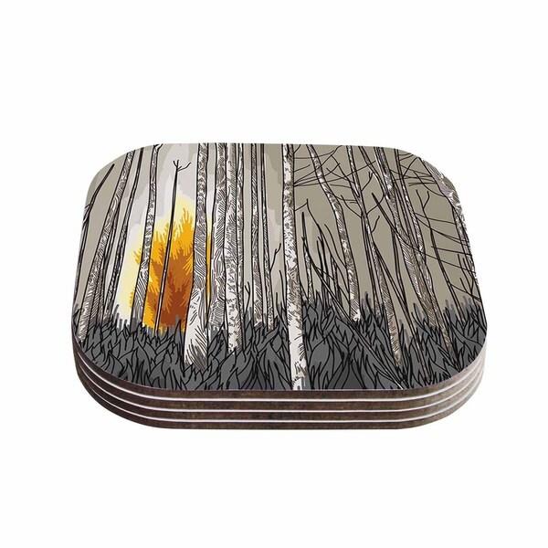 Sam Posnick 'Smokey Forest Fire' Brown Orange Coasters (Set of 4)