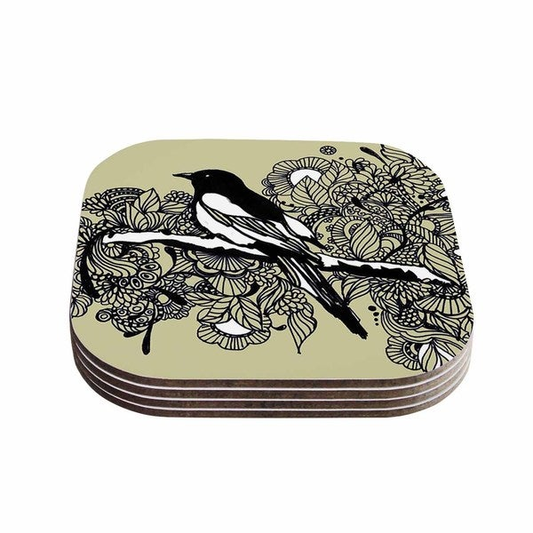 Sonal Nathwani 'Magpie' Tan Bird Coasters (Set of 4)
