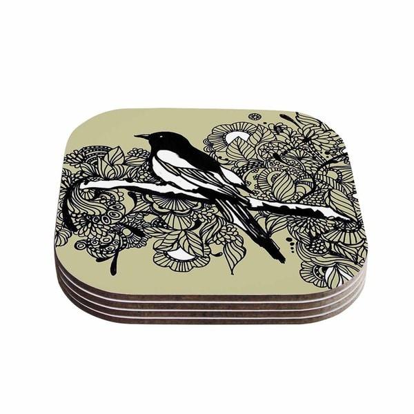Sonal Nathwani 'Magpie' Tan Bird Coasters (Set of 4)