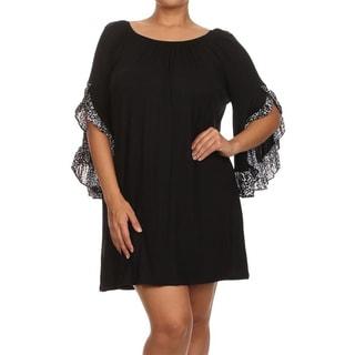 MOA Collection Women's Plus-size Flutter Leopard Print Shirt Dress