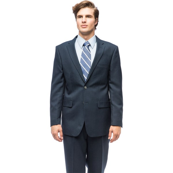 Men's Navy Blue Polyester Single Breasted Suit