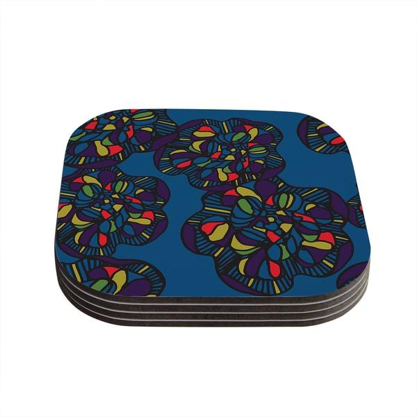 Sonal Nathwani 'Mushroom Flower' Navy Pattern Coasters (Set of 4)