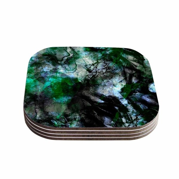 Shirlei Patricia Muniz 'Camouflage' Black Green Coasters (Set of 4)