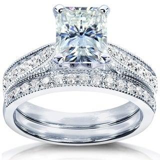 Annello 14k White Gold 1 1/2ct TCW Forever Brilliant Radiant Moissanite and Round Diamond Bridal Set (G-H, I1-I2)