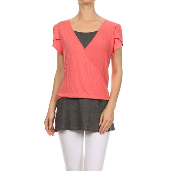 MOA Collection Color Block Capped Tulip Sleeve Shirt