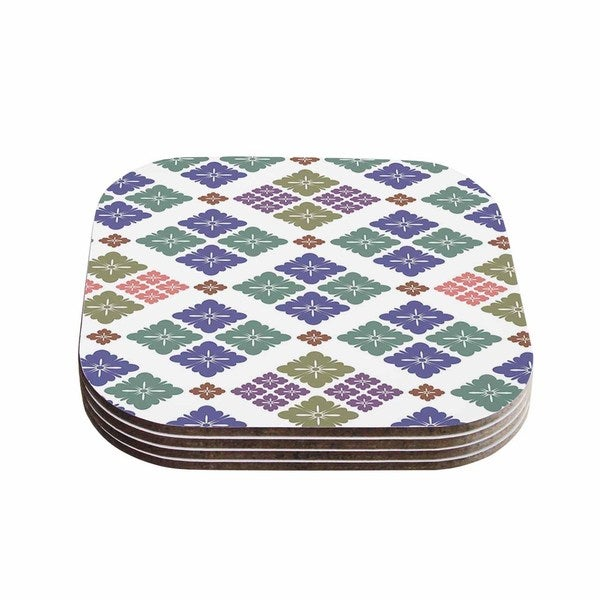 Setsu Egawa 'Happy Lozenge' Blue Green Coasters (Set of 4)