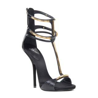 Giuseppe Zanotti Women's Black Leather Heel Sandal