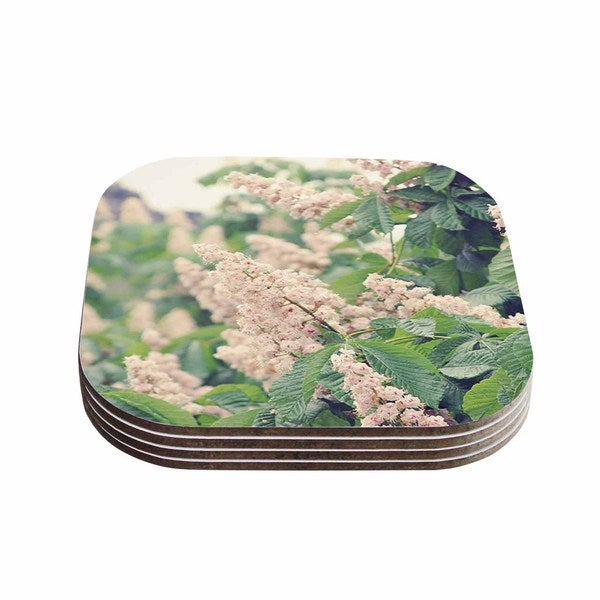 Sylvia Coomes 'Breath Of Fresh Air' Pink Floral Coasters (Set of 4)