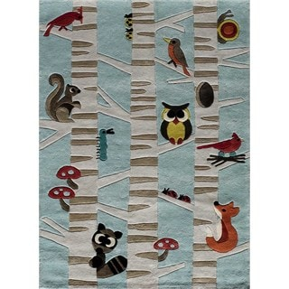 Momeni 'Lil Mo Forest Critters Light Blue Rug (4' x 6')